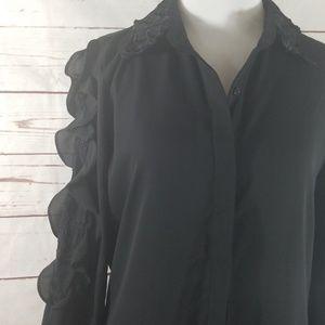 Karl Lagerfeld black lace & ruffle longsleeve top